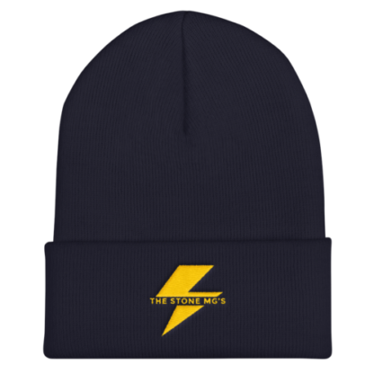 The Stone MGs Bolt Cuffed Beanie Gold on Navy