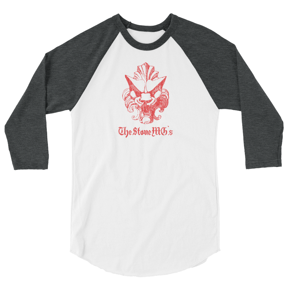 The Stone MGs Lion Jersey Raglan Tee Red on White-Heather Charcoal