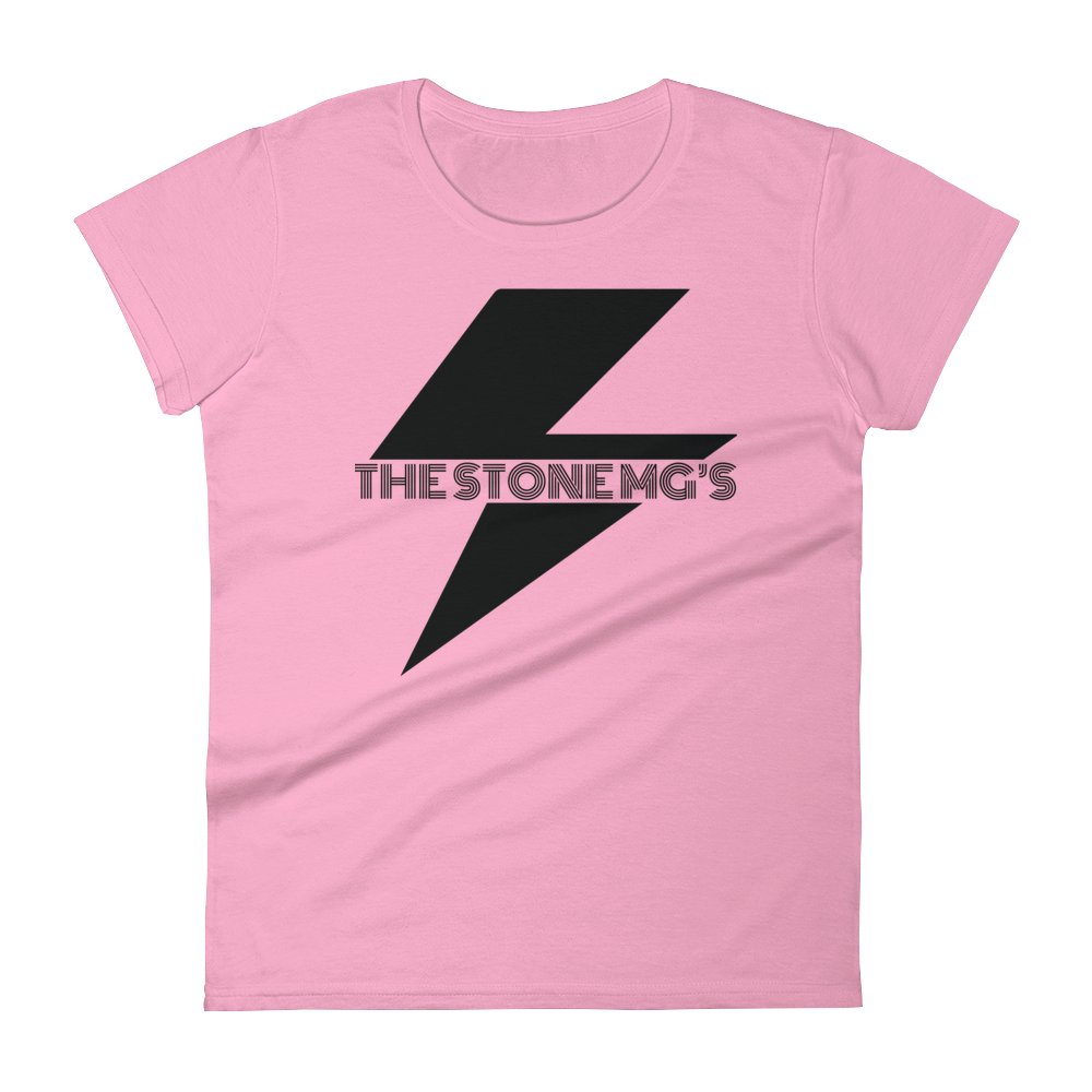 The Stone MGs Bolt Ladies T-Shirt Black on Charity Pink