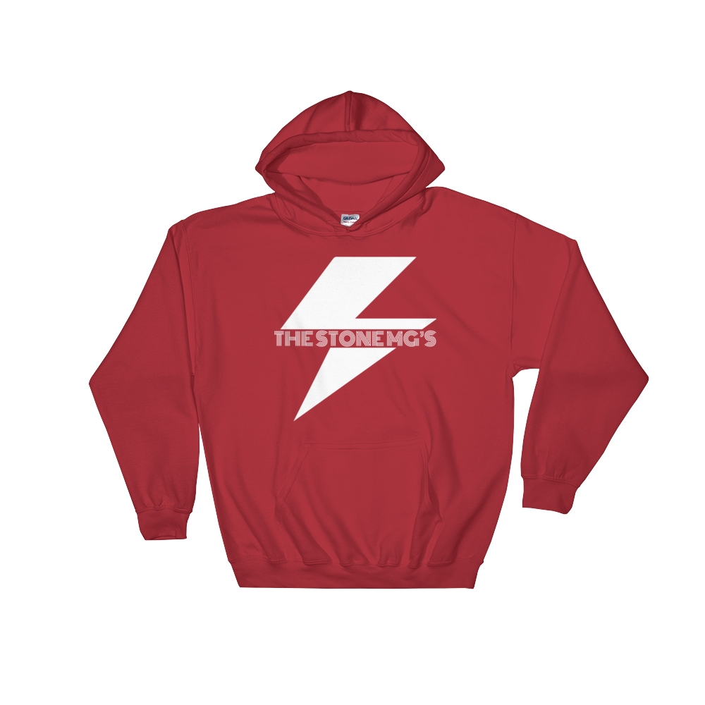 The Stone MG's Hooded Sweatshirt White on Red